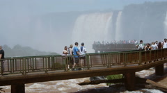 Iguaçu waterfalls, viewed from Brazil, Foz do Iguacu. Tourists. Time lapse Stock Footage