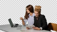 K14A8794 - two girls working side by side, desk, laptop, tablet, iPad Stock Footage