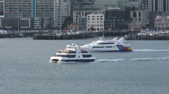 Auckland Ferry Service New Zealand Stock Footage