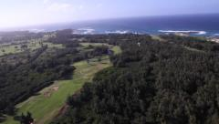 Ocean & Waves, Golf Course, North Shore, Oahu aerials Stock Footage