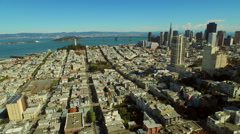 San Francisco Aerial, Flying low over Russian Hill neighborhood panning right Stock Footage