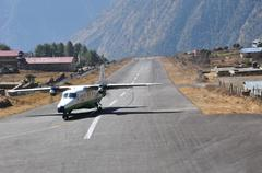 lukla airstrip - stock photo