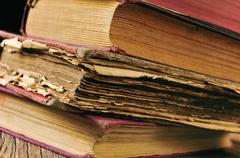 worn-out old books - stock photo