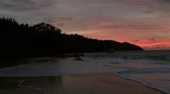 Panorama sunset on the beach of Anse Lazio - stock footage
