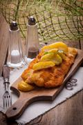 Fried cod fillet. - stock photo