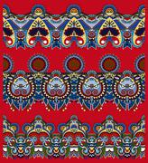 Stock Illustration of red seamless ethnic floral paisley stripe pattern