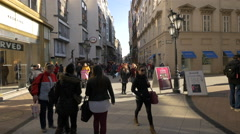 People on Vaci Street in Budapest Stock Footage