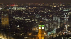 Night view of the city of London from a top view - stock footage