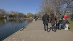 Walking in the City Park in Budapest Stock Footage