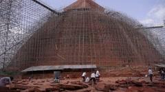 Temple in renovation,Anuradhapura,Sri Lanka Stock Footage