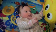Baby on Aquatic Theme Playmat Stock Footage