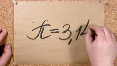 Mathematical constant P written on paper Stock Footage