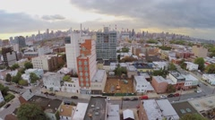 Cityscape with Dutch Kills, Queensboro Bridge and skyscrapers Stock Footage