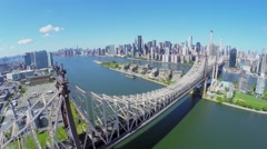 Queensbridge with traffic at summer sunny day Stock Footage