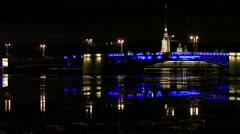Night view of Opening Palace bridge in St. Petersburg, Russia. Full HD - stock footage