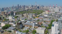 Dutch Kills and Ravenswood with Queensbridge Houses, skyscrapers Stock Footage