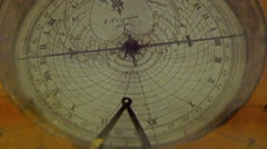 An old model of a compass used for navigation Stock Footage