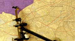 A navigational map with a big compass and sundial Stock Footage