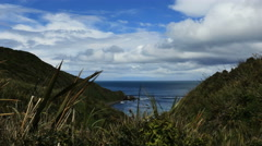 New Zealand Catlins Nugget Point bay at base of steep hills Stock Footage
