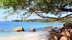 Beautiful beach Anse Lazio - stock footage
