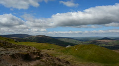 Mountain Scenery Pan Left to Right view of Llangorse Stock Footage