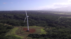 Wind Turbines North Shore, Oahu - Aerial - stock footage