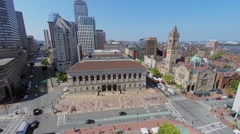 Cityscape with traffic near Public Library and Old South Church Stock Footage