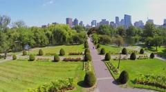 Boston Public Garden with George Washington Equestrian Statue Stock Footage