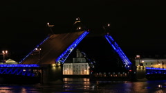 Night view of Opening Palace bridge in St. Petersburg, Russia. Full HD Stock Footage