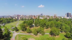Panorama of Boston Public Garden with playgrounds at autumn Stock Footage