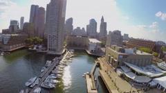 Panorama with New England Aquarium and Long Wharf Stock Footage