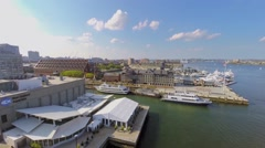 New England Aquarium and Long Wharf at autumn sunny day. Stock Footage