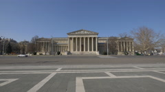 Heroes's Square with the Museum of Fine Arts in Budapest Stock Footage