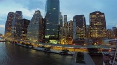 Wall Street with traffic on Franklin D. Roosevelt East River Drive - stock footage