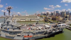 Sea-Air-Space museum on ship USS Intrepid which moored Stock Footage