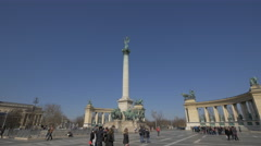 Tourists at the Millennium Monument in Budapest Stock Footage