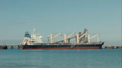 Bulk Carrier Ship Docked Stock Footage