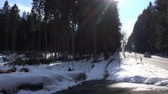 4k Winter landscape tourism mountain range Harz traffic Stock Footage