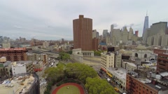 Chinatown with traffic near Manhattan Bridge Arch and Colonnade Stock Footage