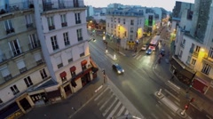 Traffic on crossroad of Rue La Fayette and Rue Louis Blanc Stock Footage