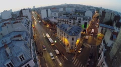 Cityscape with traffic on streets Rue La Fayette, Rue Louis Blanc - stock footage