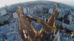 Cityscape with traffic on street of 10th district of Paris Stock Footage