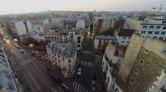 Street traffic on crossroad of Rue La Fayette with Rue Louis Blanc Stock Footage
