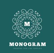 Simple and graceful monogram design template Stock Illustration