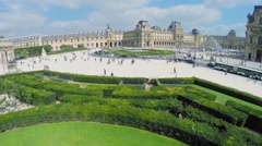 Stock Video Footage of Bush labyrinth on square Place du Carrousel with transport traffic