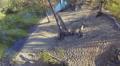 sandy coast of  lake in  wood .Aerial top view Footage
