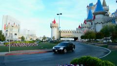 Taxi car near Excalibur hotel entrance on Las Vegas Strip in Las Vegas, Nevada. Stock Footage
