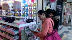 Female underwear shop, in China Stock Footage