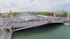 Transport traffic on Pont Alexandre lll at autumn day. Stock Footage