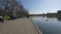 Tourists relaxaing in the City Park in Budapest Stock Footage